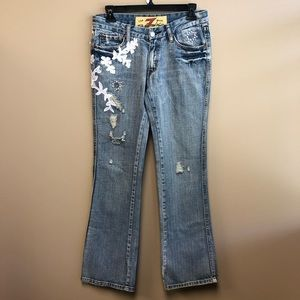 7FAM great China wall embellished flare Jeans 27